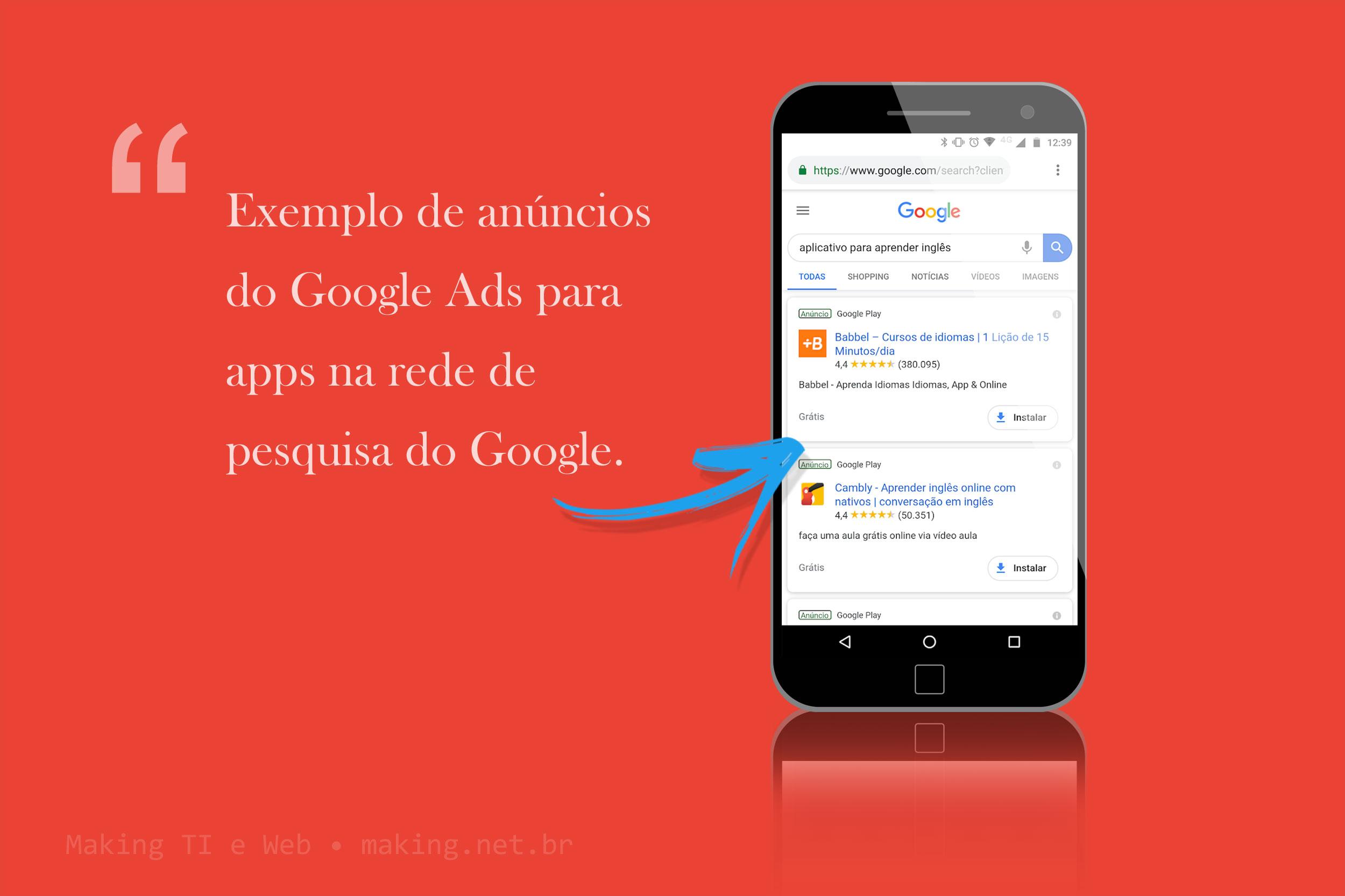 Exemplo de anúncios de apps no Google Ads