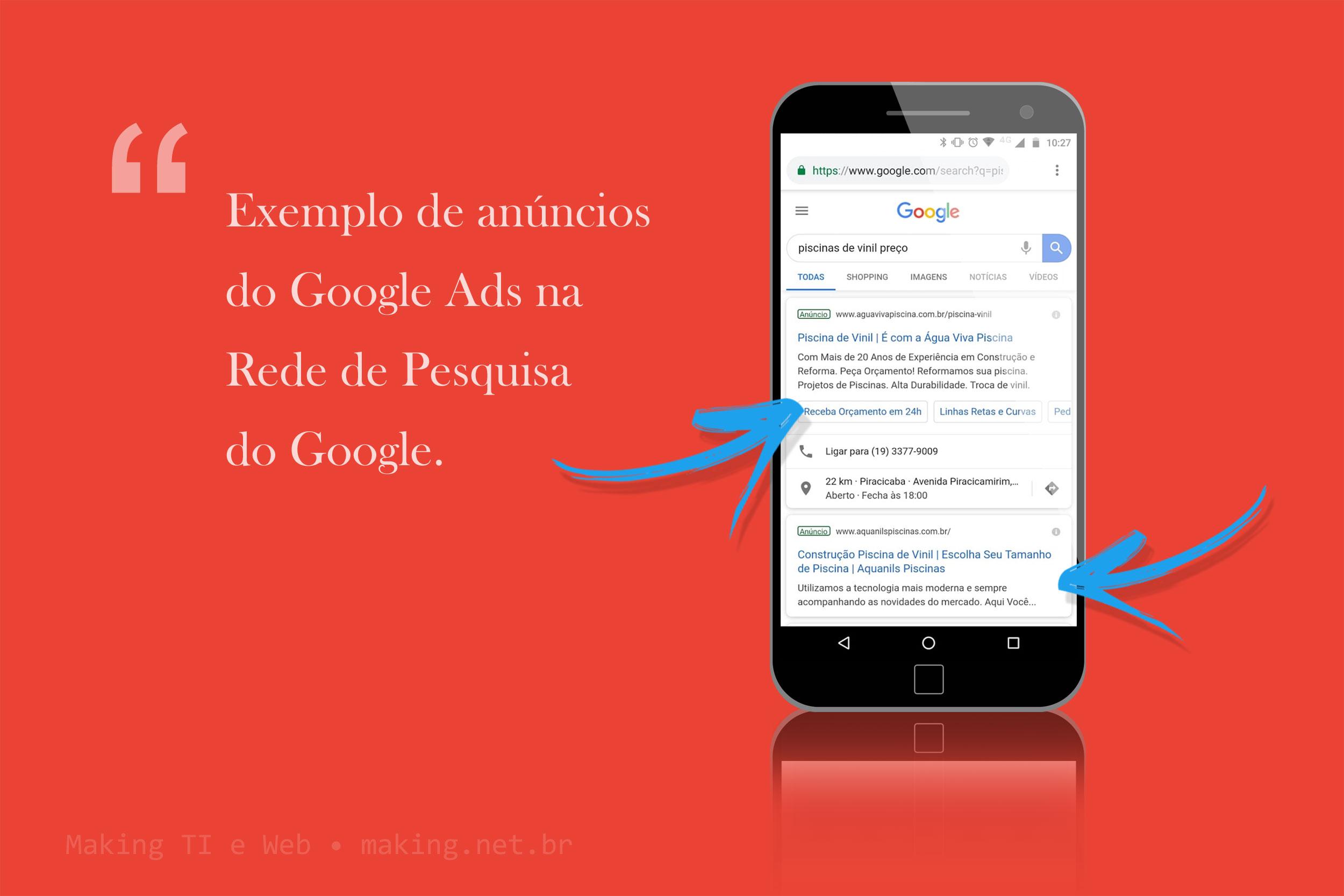 Exemplo de anúncios na Rede de Pesquisa do Google