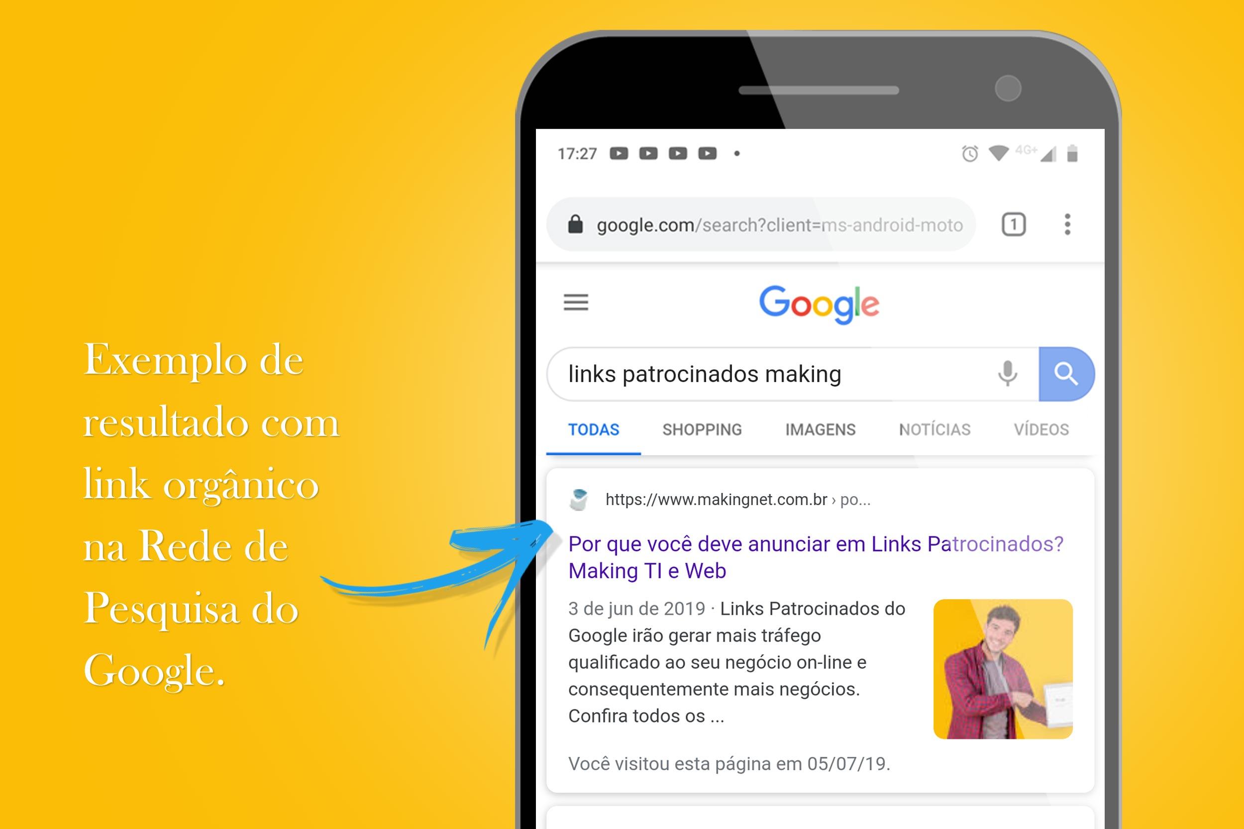 Exemplo de resultado com link orgânico na rede de pesquisa do Google