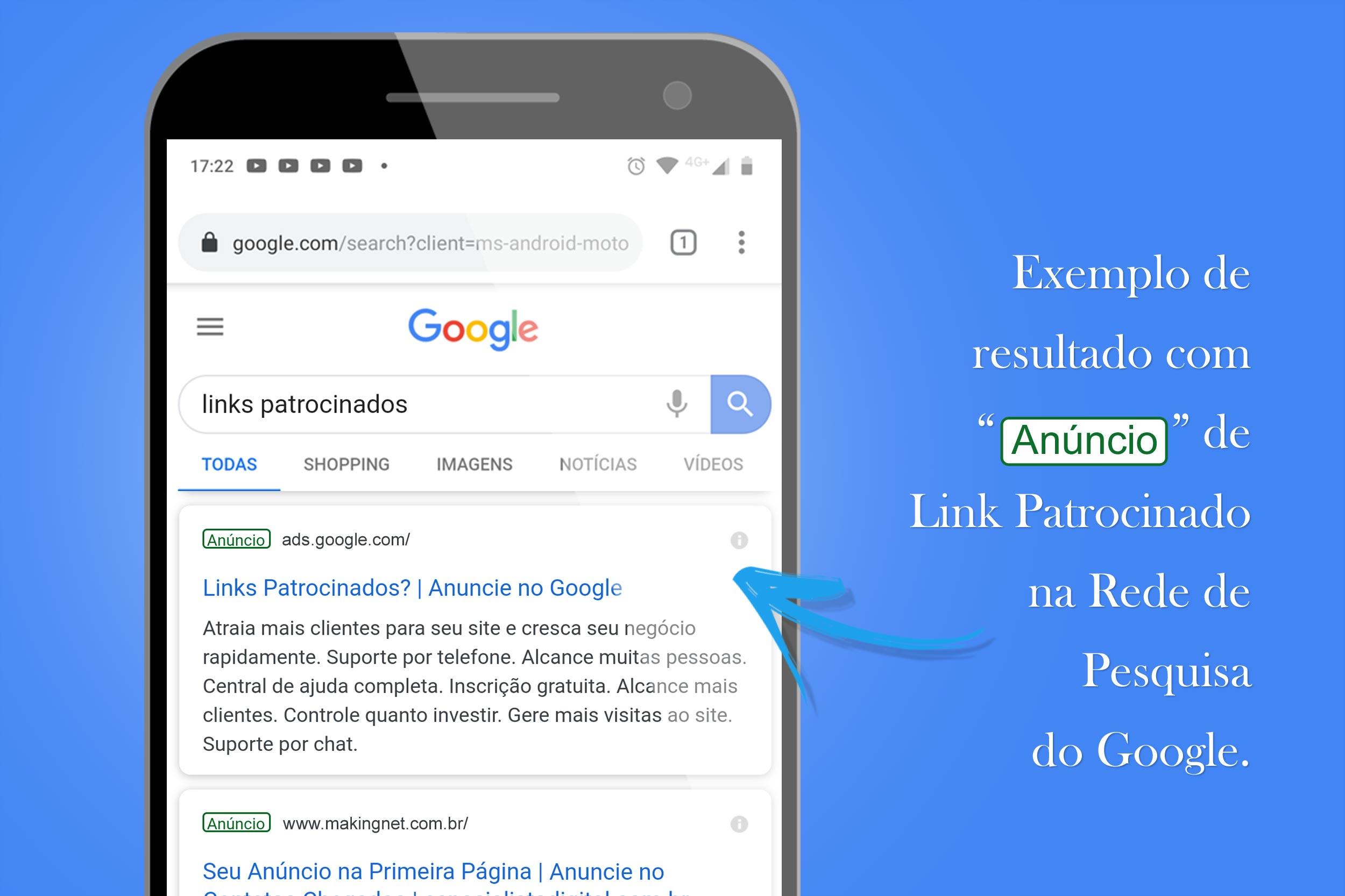 Exemplo de resultado com anúncio de link pago na rede de pesquisa do Google